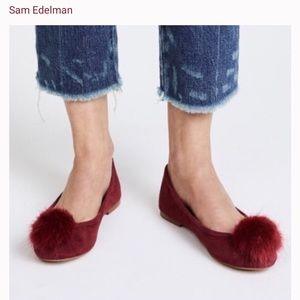 Red Sam Edelman Suede Pom Pom Flats